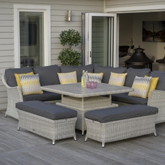 Bramblecrest Monterey Modular Sofa with Square Ceramic Adjustable Casual Dining Table and 2 Benches
