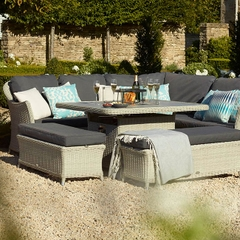 Bramblecrest Monterey Modular Sofa with Square Ceramic Casual Dining  Table with Firepit and 2 Benches