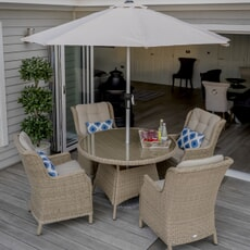 Bramblecrest Oakridge 2019 120cm Table with 4 High-Back Armchairs And Parasol