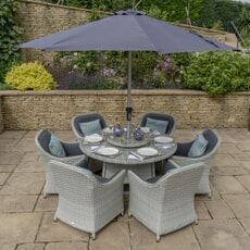 Bramblecrest Panama 140cm Round Table with 60cm Lazy Susan, 6 Armchairs, Parasol and Base