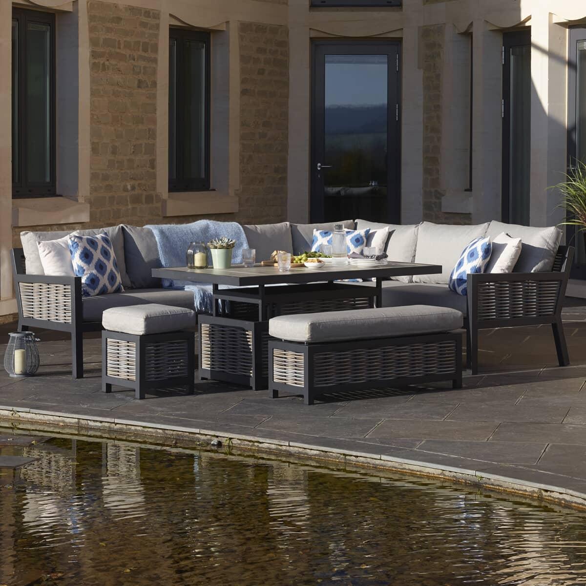 Bramblecrest Portofino Wicker Rectangle Modular Sofa With Adjustable Ceramic Top Table Bench
