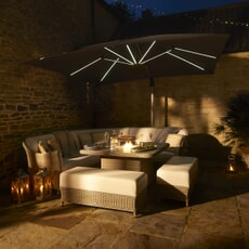 Bramblecrest Monte Carlo Modular Sofa with Square Firepit Casual Dining Table and 2 Benches