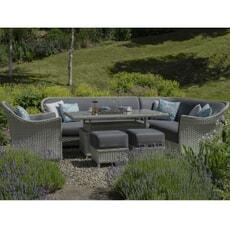 Bramblecrest Panama Sofa Set with Adjustable Ceramic Top Table ( NO STOOLS or ARMCHAIR)