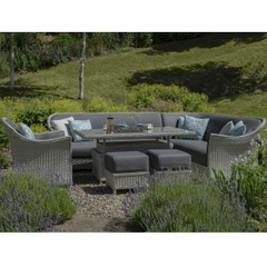 Bramblecrest Panama Modular Sofa with Adjustable Ceramic Top Rectangle Casual Dining Table and 2 Stools
