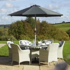 Bramblecrest Tetbury 135cm Round Table with 6 Armchairs,Eco, Parasol and Base - Cloud