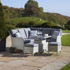 Bramblecrest Tetbury Modular Sofa with Mini Adjustable Casual Dining Table and 2 Stools Eco Cloud
