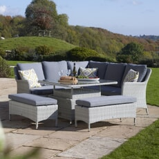 Bramblecrest Tetbury Modular Sofa with Square Adjustable Casual Dining Table and 2 Benches, Eco - Cloud