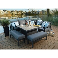 Bramblecrest La Rochelle Square Modular Sofa with Firepit Casual Dining Table  2 Benches - Slate Eco