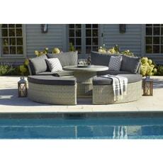 Bramblecrest Monterey Modular Daybed Set with 110cm Round Ceramic Dual Height Table Dove Grey