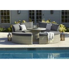 Bramblecrest Monterey Modular Daybed Set with 110cm Round Ceramic Dual Height Table - Dove Grey
