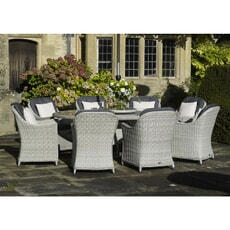 Bramblecrest Monterey 220 x 145cm Elliptical Table with 8 Armchairs and Parasol Dove Grey
