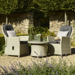 Bramblecrest Monterey 70cm Round Adjustable Table with Ceramic Top  2 Reclining Armchairs Dove Grey