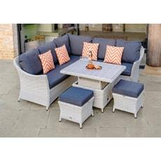 Bramblecrest Monterey Modular Sofa with Mini Ceramic Adjustable Casual Dining Table  2 Stools Dove Grey