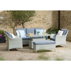 Bramblecrest Tetbury Cloud 3 Seater Sofa with Dual Height Rectangle Glass Top Table 2 Armchairs and Bench Eco-Cloud