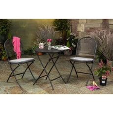 Kettler Caffe Napoli Folding Bistro Set with Silver Checked Seat Pads
