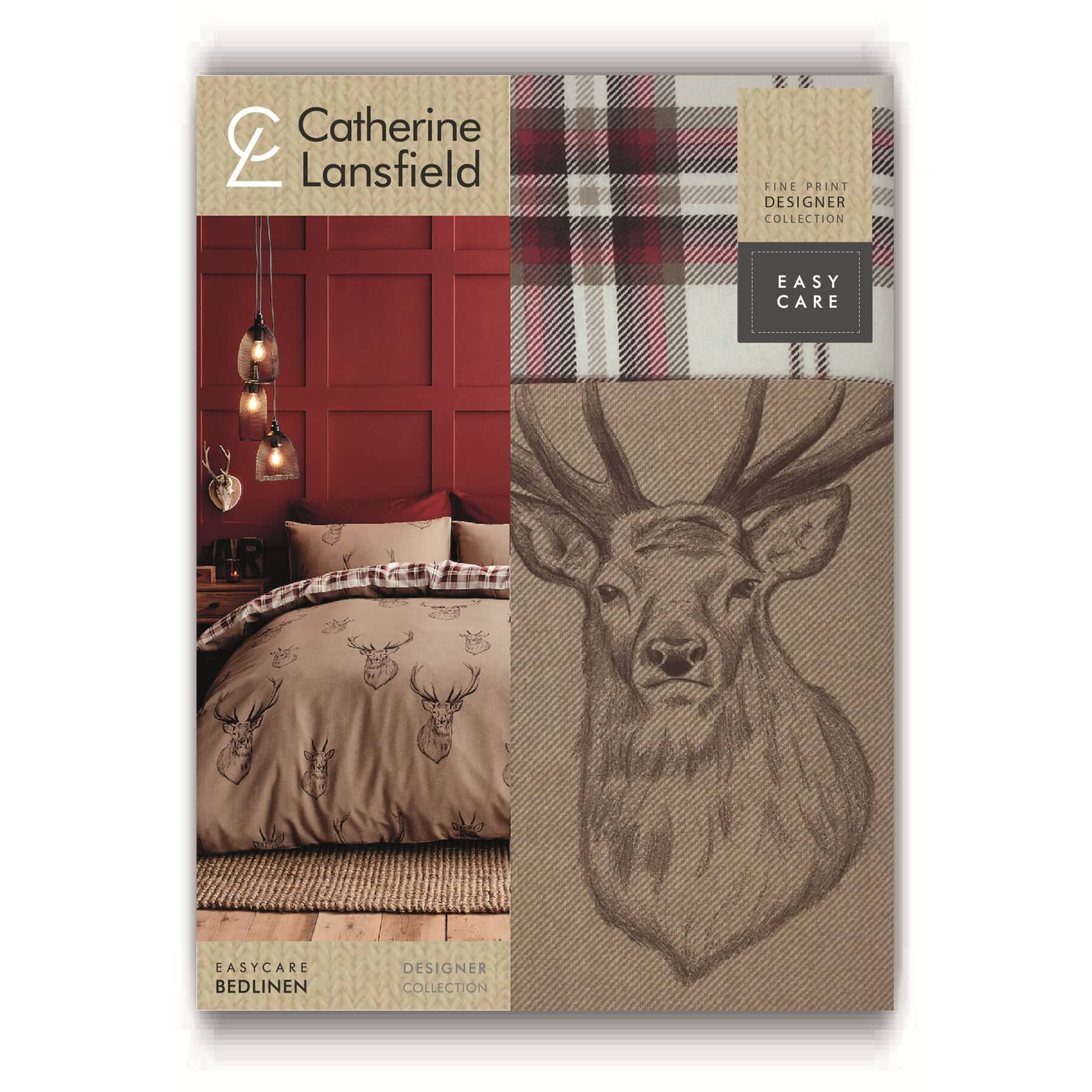 Catherine Lansfield Stag Red Justlinen