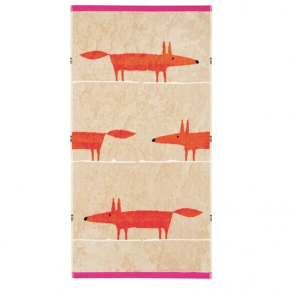 Scion Mr Fox Towels Cerise and Tangerine large