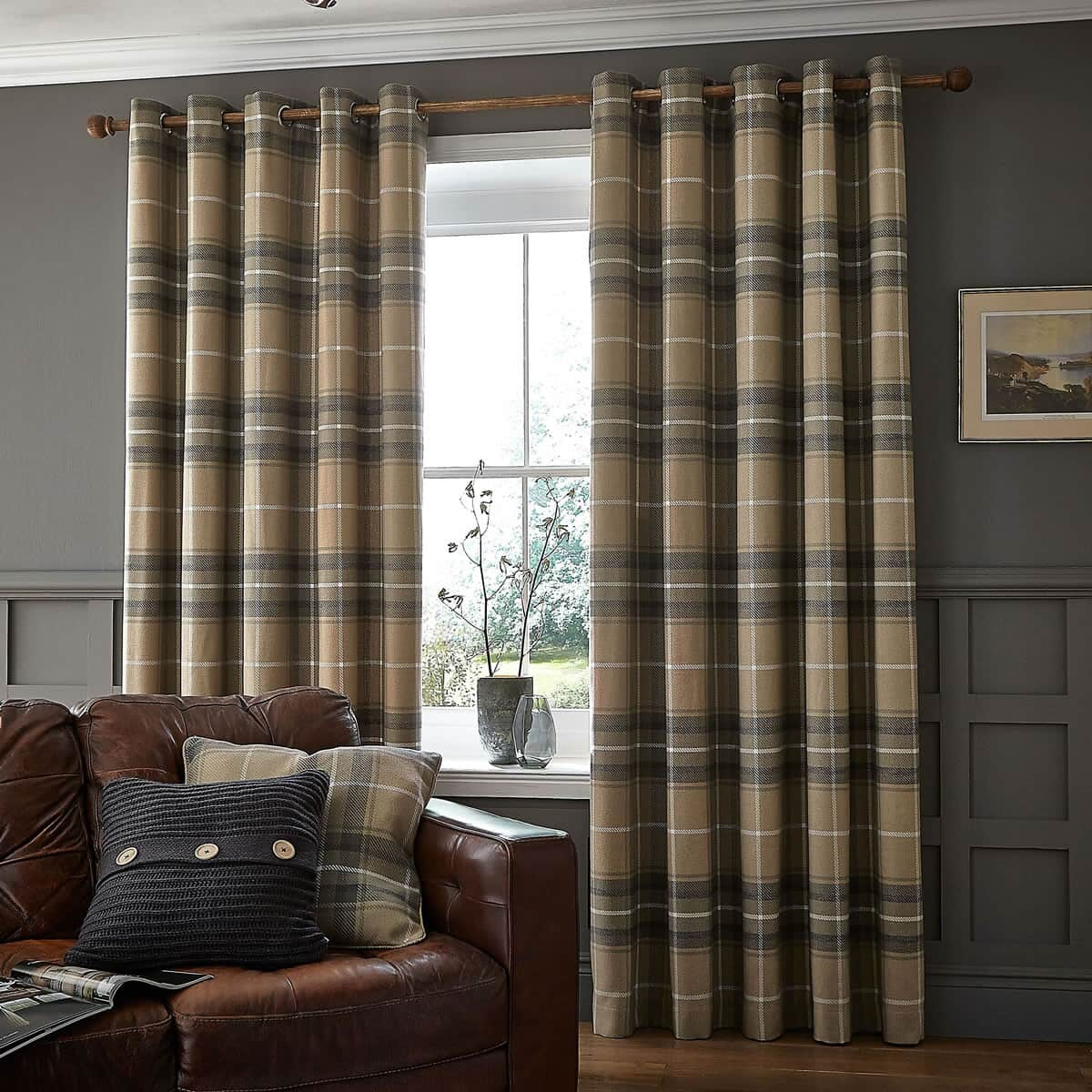 Catherine Lansfield Heritage Check Grey large