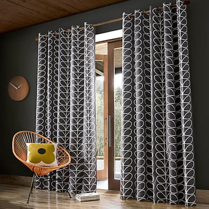 Orla Kiely Linear Stem Curtains Charcoal large