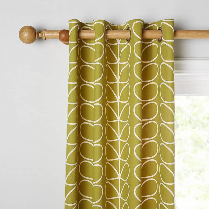 Orla Kiely Linear Stem Curtains Olive Small 4362A