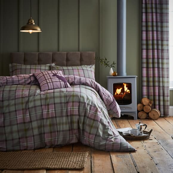 Catherine Lansfield Heritage Kelso Check Heather large