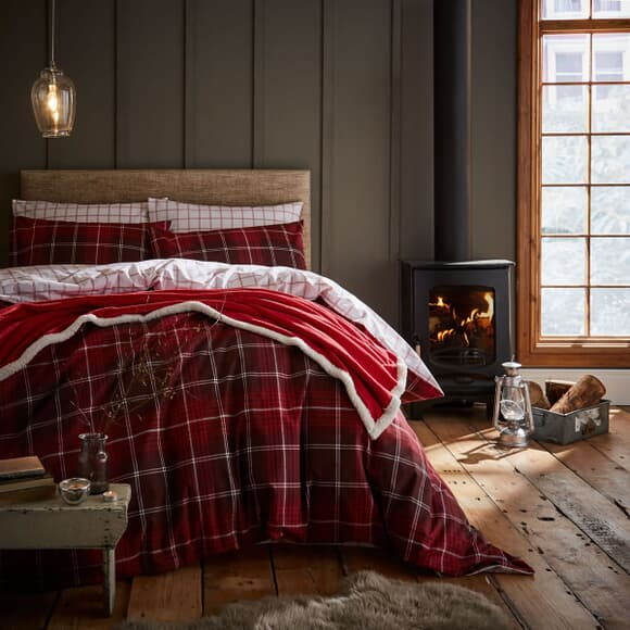 Catherine Lansfield Brushed Tartan Check Red large