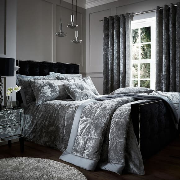 Catherine Lansfield Crushed Velvet Silver large