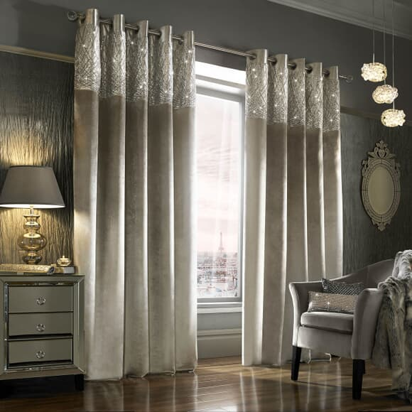 Kylie at Home Esta Silver Curtains large