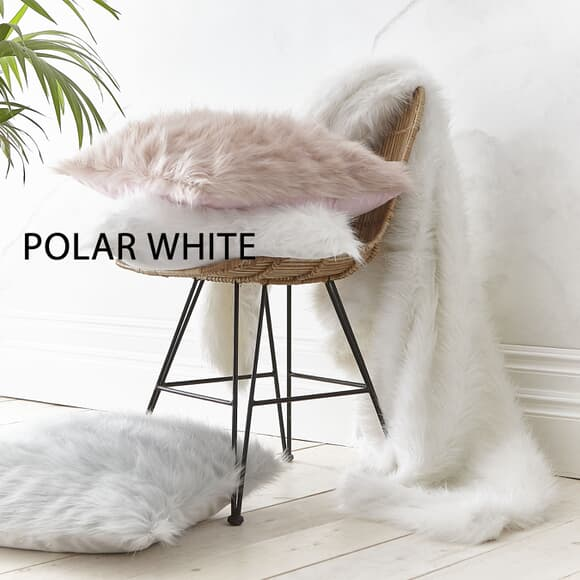 Catherine Lansfield Metallic Fur Polar White large