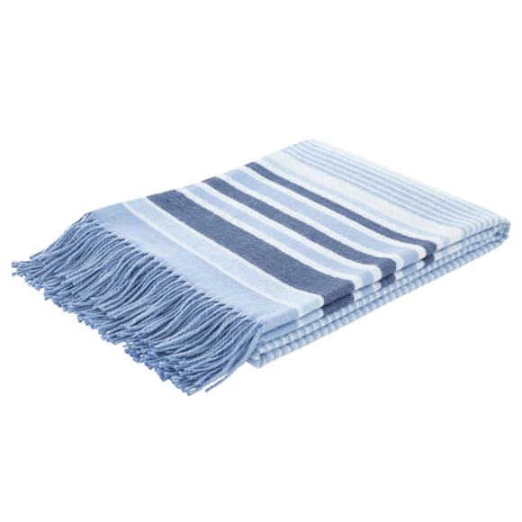 Catherine Lansfield Woven Striped Blanket Blue large