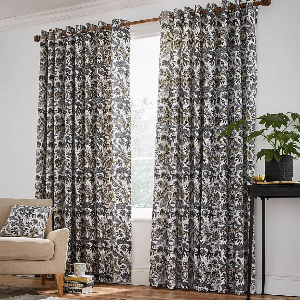 Helena Springfield Jacaranda Charcoal Curtains large