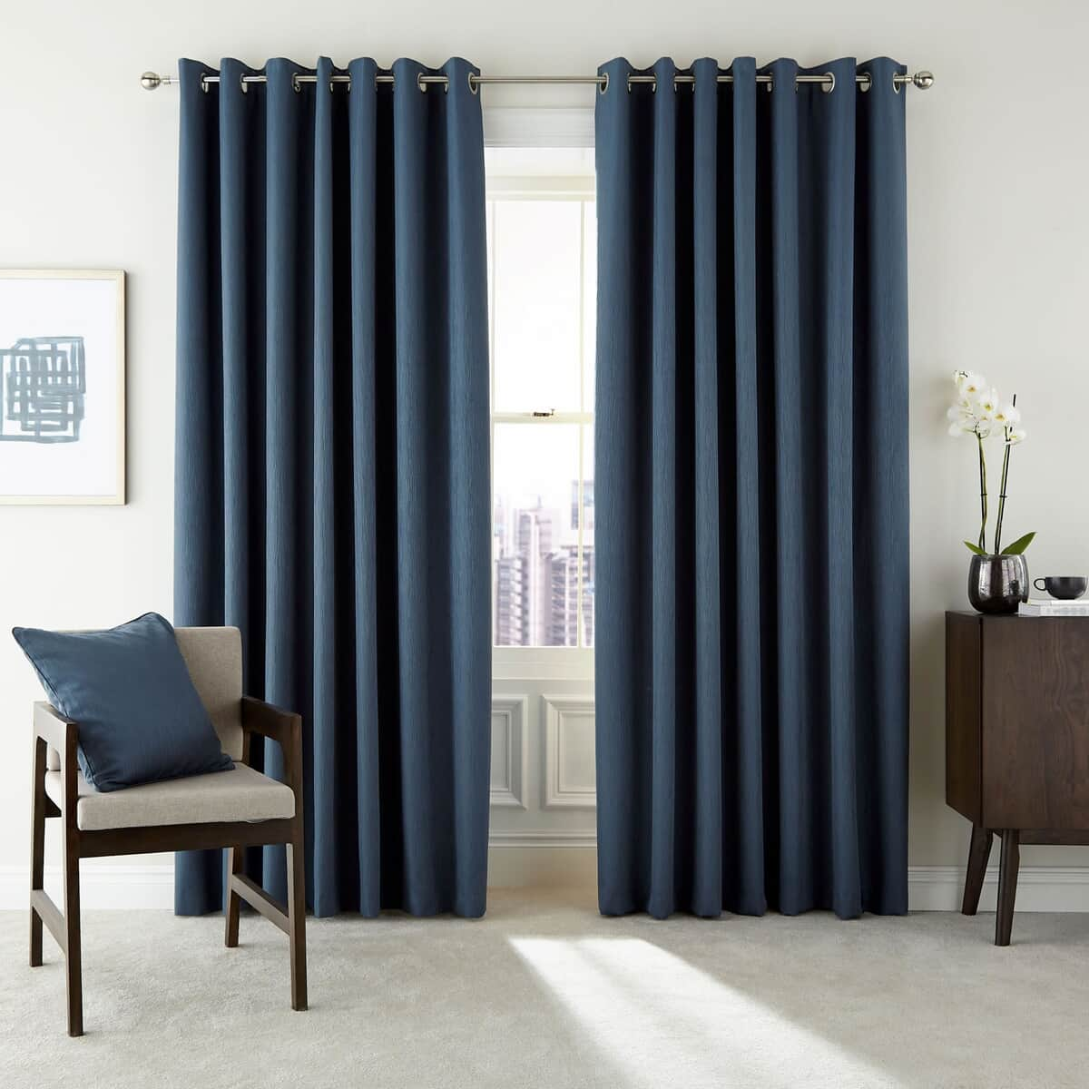 Peacock Blue Hotel Barcelo Prussian Blue Curtains large
