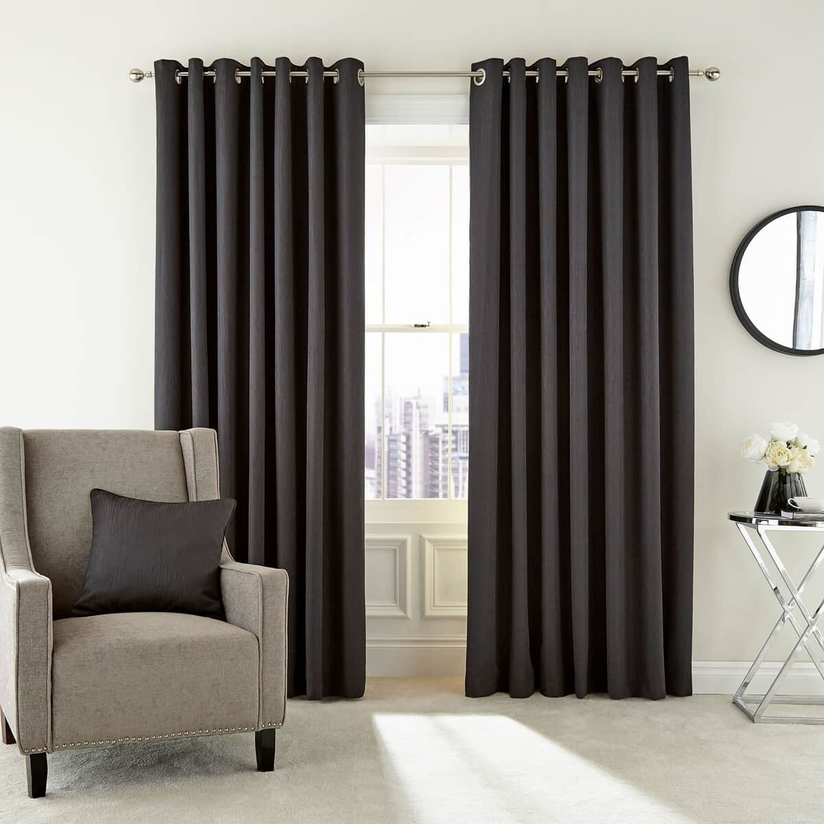 Peacock Blue Hotel Barcelo Graphite Curtains large
