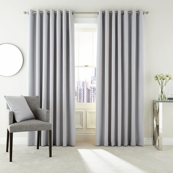 Peacock Blue Hotel Barcelo Silver Curtains large