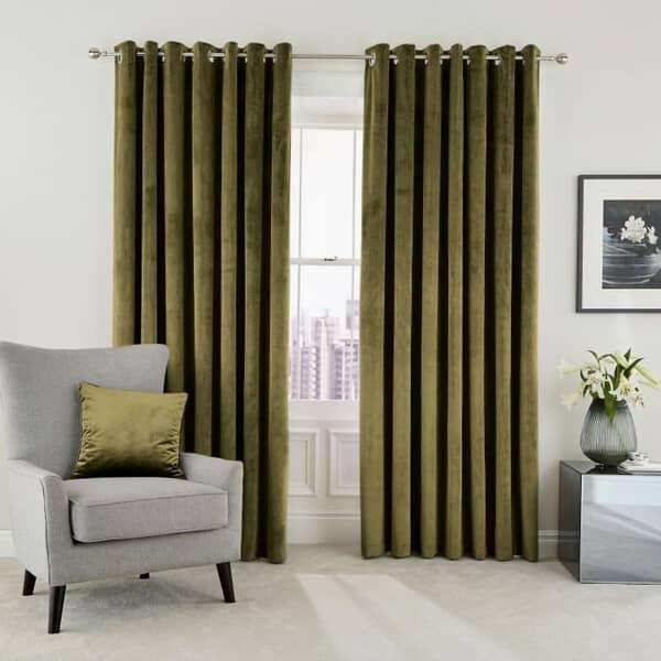Escala Olive Curtains