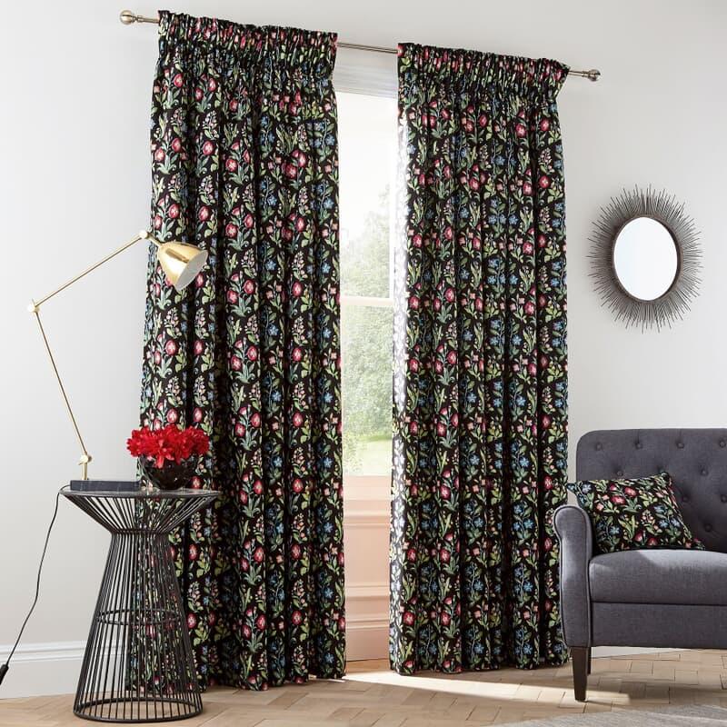V & A Campion Black Curtains large