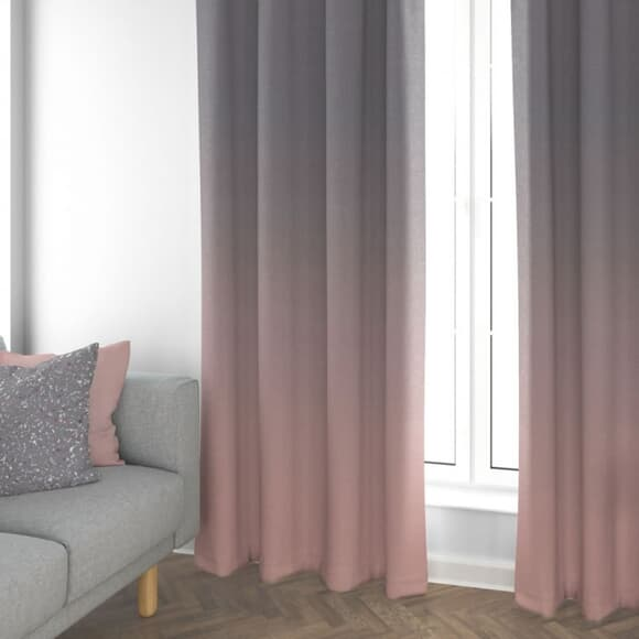 Cotton Anthology Frost Curtains Grey/ Pink large