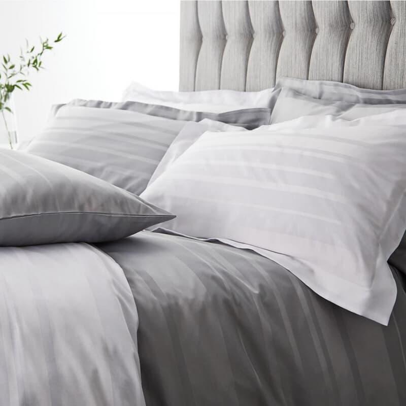 Catherine Lansfield Satin Weave Hotel Stripe Grey large