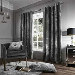 Crushed Velvet Silver Curtains