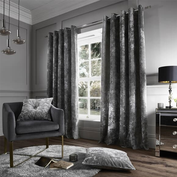 Catherine Lansfield Crushed Velvet Silver Curtains large
