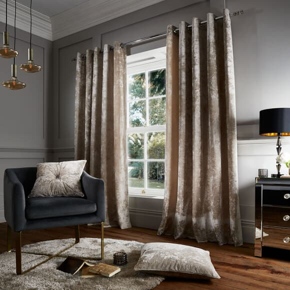 Catherine Lansfield Crushed Velvet Natural Curtains large