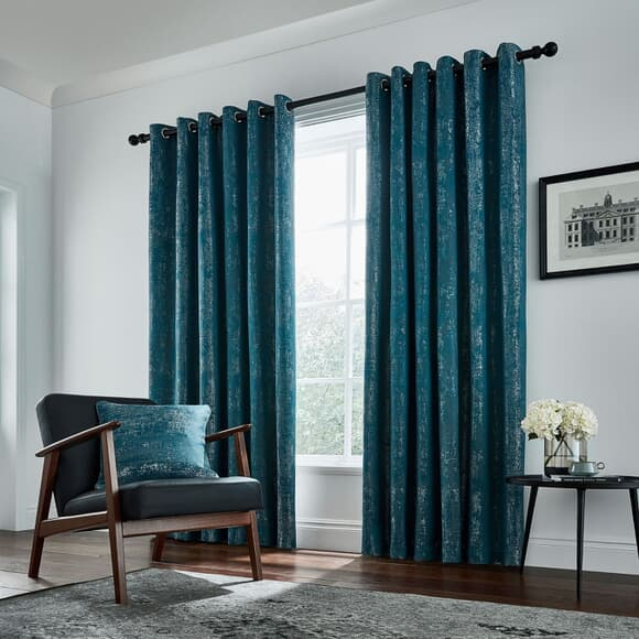 Peacock Blue Hotel Roma Curtains Emerald large