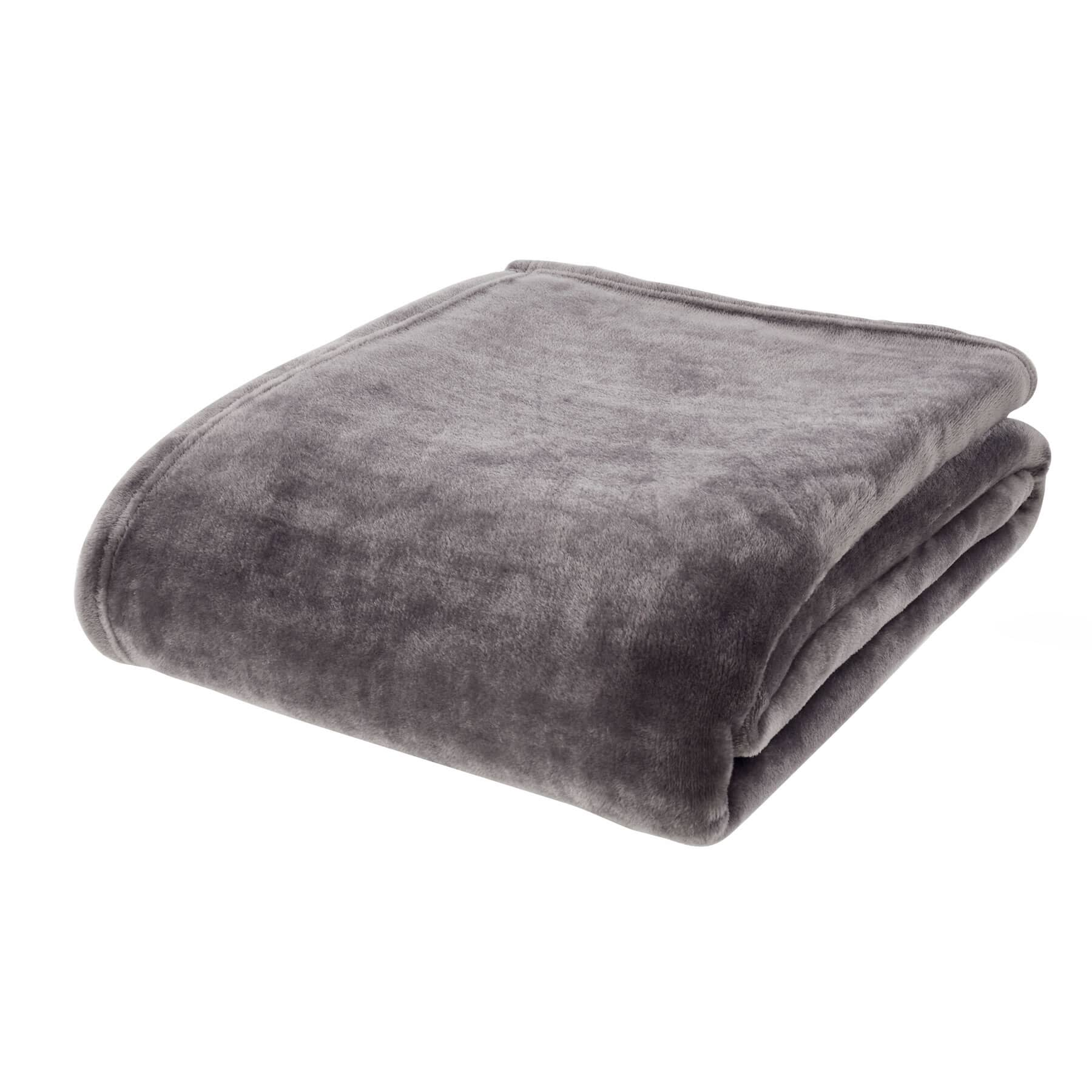 Raschel Velvet Touch Throw Charcoal
