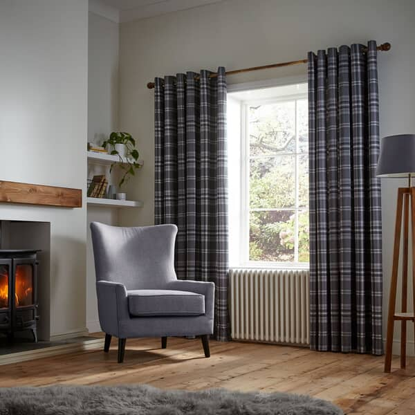 Thermal Woven Check Curtains Charcoal