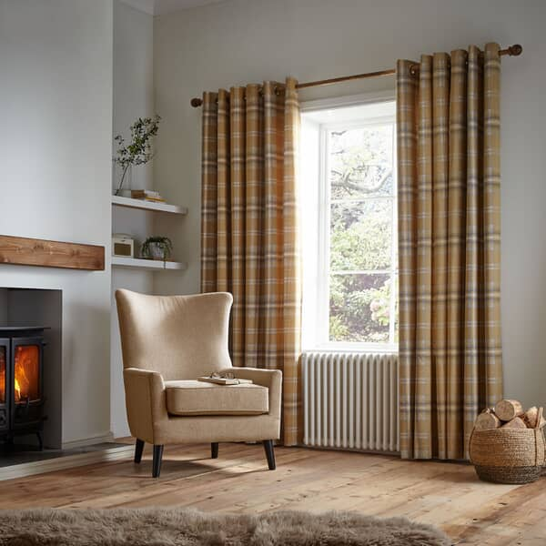 Thermal Woven Check Curtains Ochre