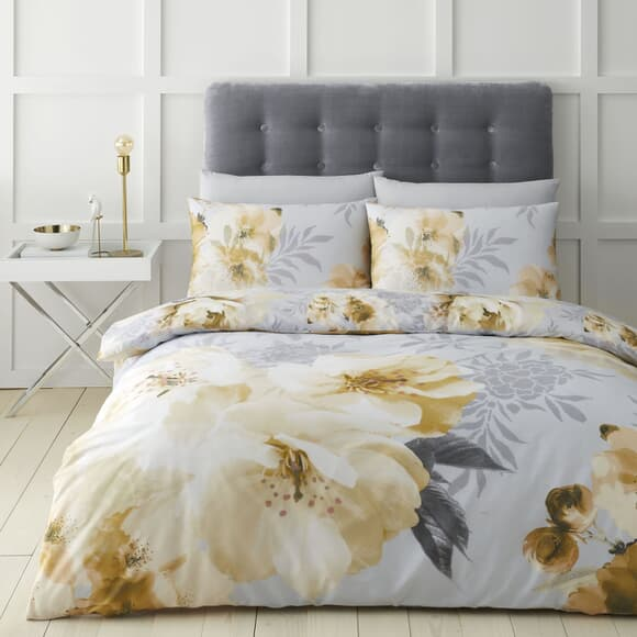 Catherine Lansfield Dramatic Floral Ochre large