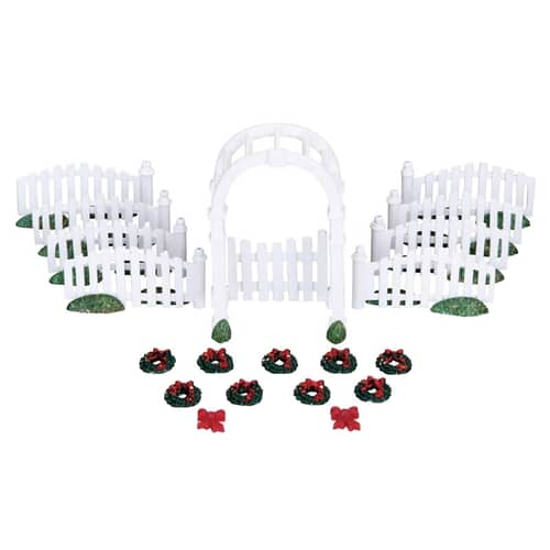 Lemax - Plastic Arbor And Picket Fences W/Decorations Set Of 20