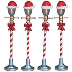 Lemax - Santa Hat Street Lamp Set Of 4 Battery Operated (4.5V)