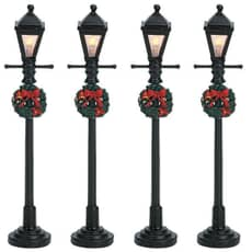 Lemax - Gas Lantern Street Lamp Set Of 4 Battery Operated (4.5V)
