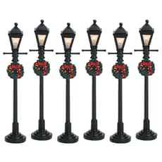 Lemax - Gas Lantern Street Lamp Set Of 6 Battery Operated (4.5V)